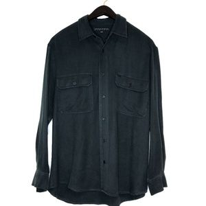 Arnold Zimberg  silk button down dress shirt black